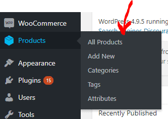 Wordpress Dashboard Products